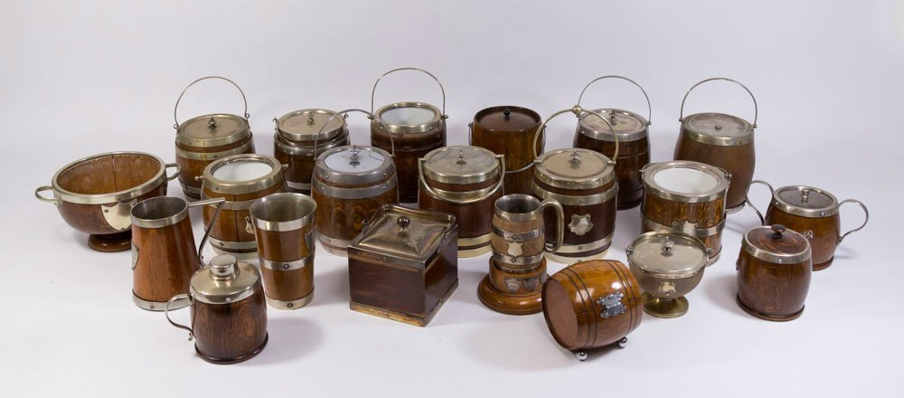 Lot 21 English Wood & Silver Plate Items
