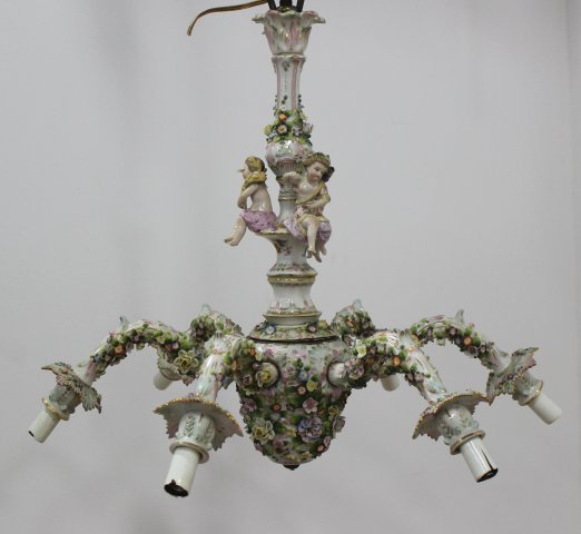 Dresden Porcelain 6-Arm Chandelier