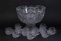 Victorian Cut Crystal Punch Bowl