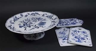 Blue Danube Porcelain Tazza 3 Hot Plates