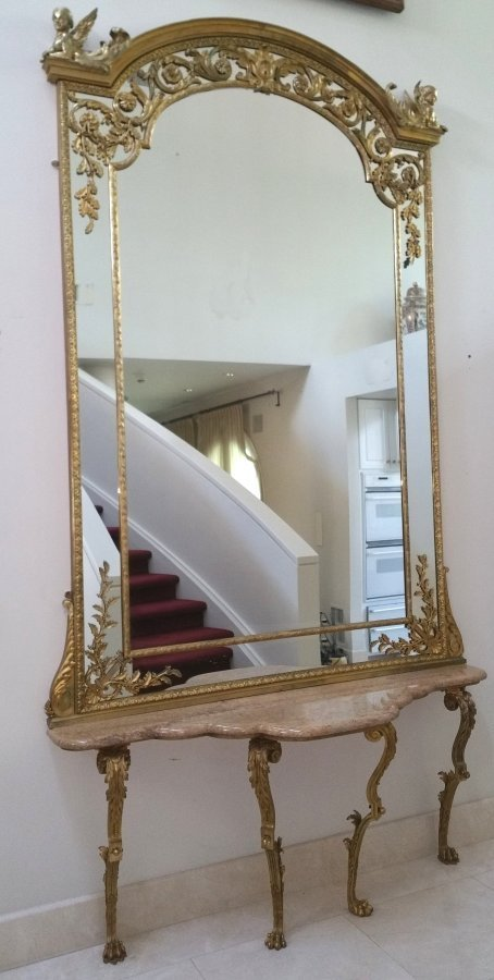 French 19th Century Henry Dasson Mirror & Console