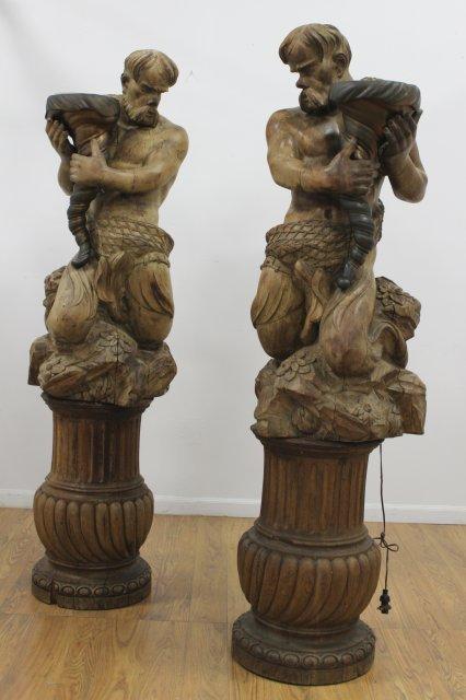 Pair Bronze & Carved Walnut Hippocampus Torchères