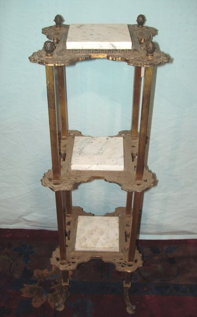 99: 3 TIER MARBLE & BRASS STAND