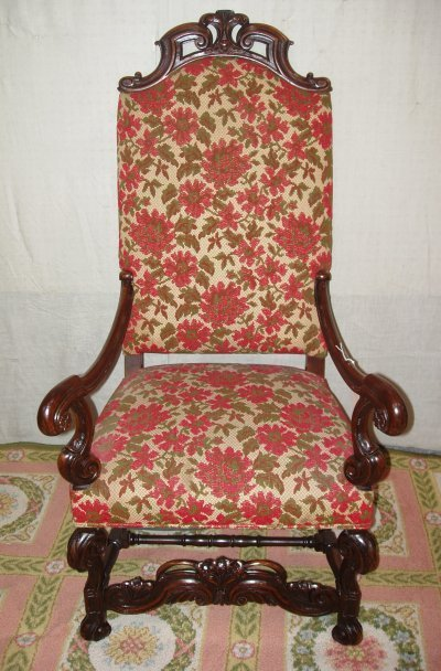 103: BAROQUE OPEN PIERCED CARVED THRONE CHAIR