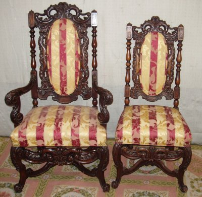 109: SET OF 6 CARVED DINING ROOM CHAIRS