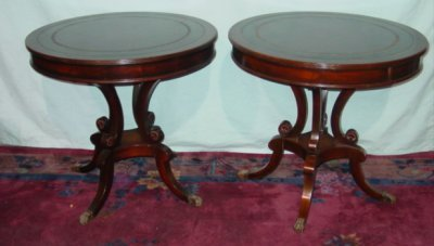233: PAIR GOLD TOOLED REGENCY LAMP TABLES