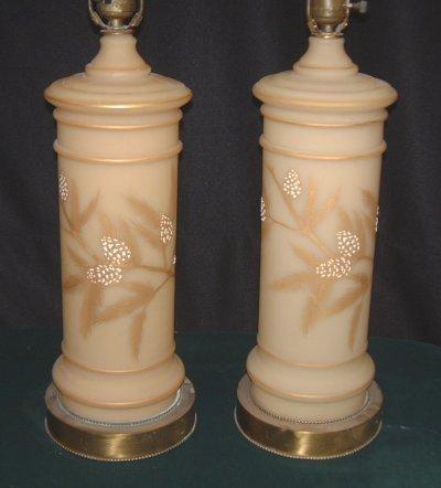 809: PAIR GLASS LAMP BASES