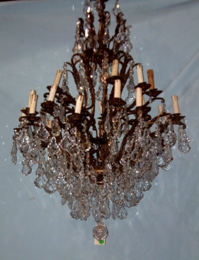814: PAIR BRONZE & CRYSTAL FRENCH CHANDELIERS