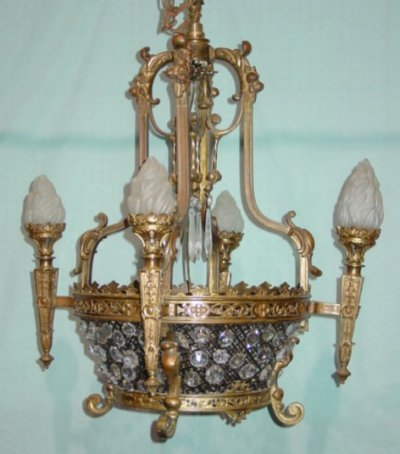 817: 19TH C. 4 ARM GOTHIC STYLE CHANDELIER