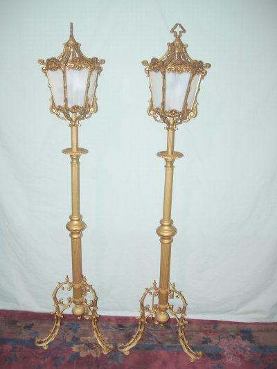 826: PAIR LANTERN FORM POLE LAMPS