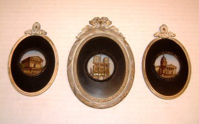 829: 3 19TH C. BRONZE FRAMED MINIATURE REVERSE PAINTING
