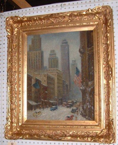 957: N.Y.C. OIL ON PANEL SIGNED C.C. COOPER