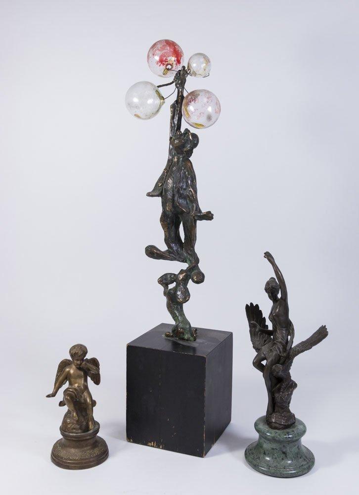 Lot of 3 Sculptures, 2 Bronze & 1 Metal