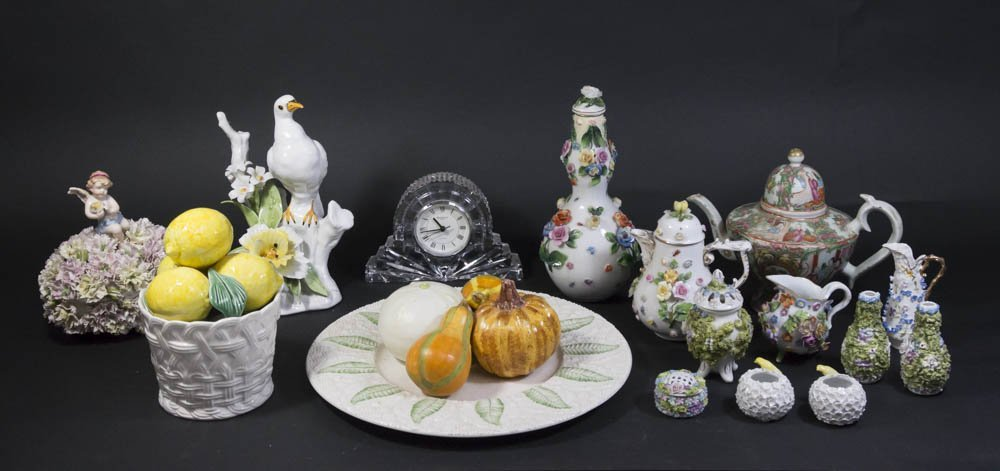 15 Pieces of Porcelain & Waterford Crystal Clock