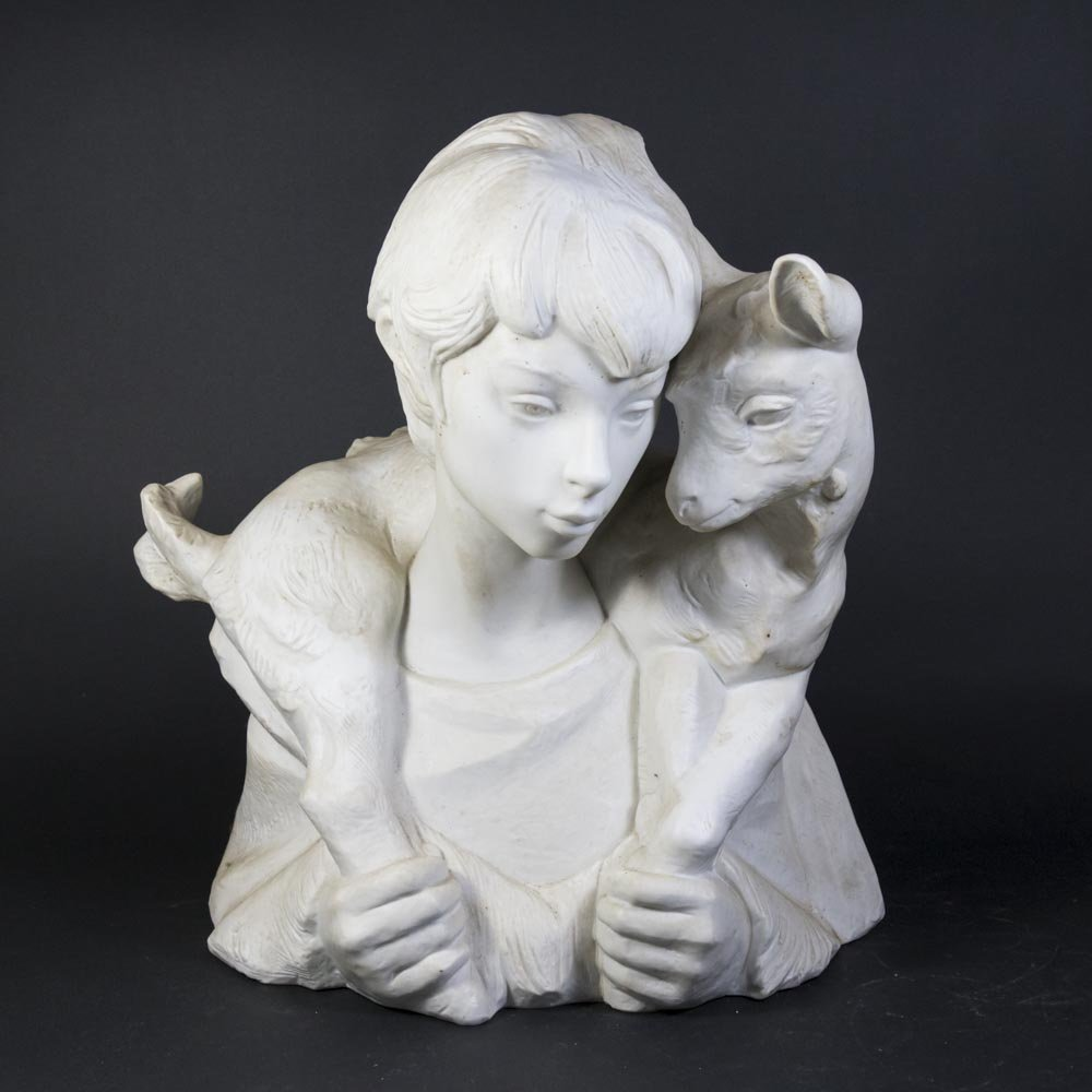 Lladro Porcelain Bust Figure of Boy with Goat