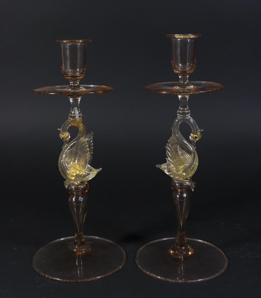 Pair Venetian Glass Candlesticks With Swans
