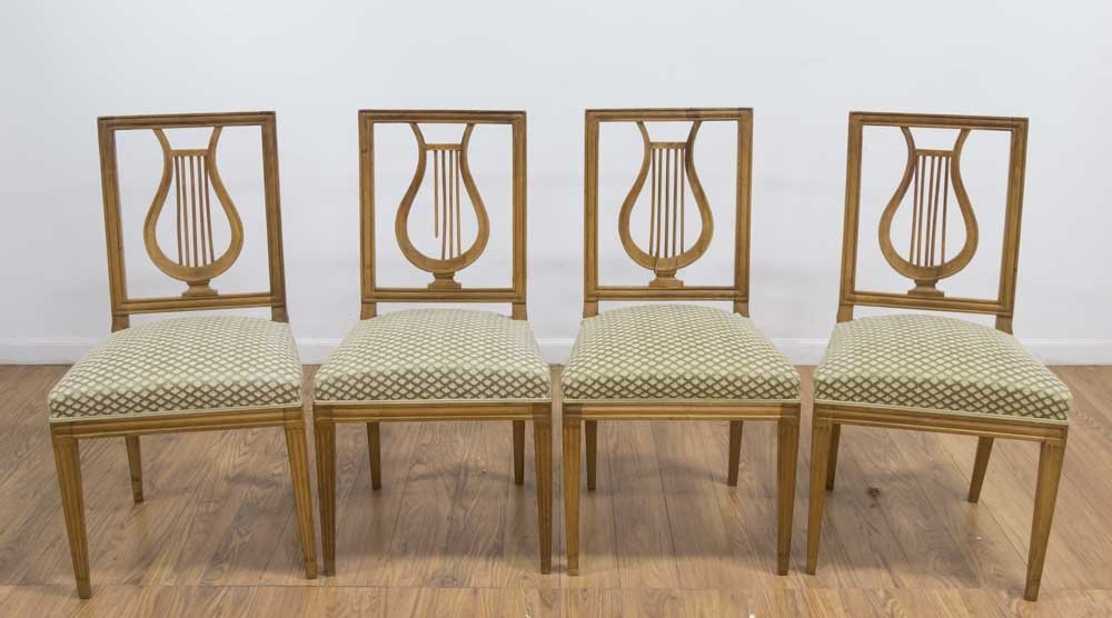 Set 4 Neoclassic Style Lyre-Back Side Chairs