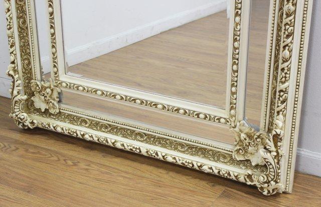 Large Cream Colored Composite Wood Mirror - 3
