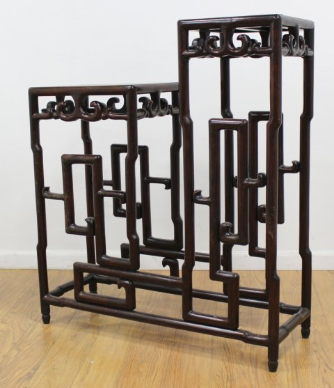 Chinese Carved Mahogany 2-Tier Etagere