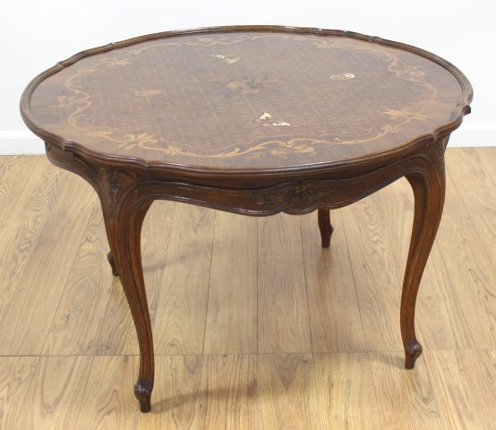 Round Scalloped Edge Inlaid Coffee Table