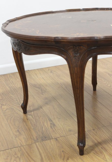 Round Scalloped Edge Inlaid Coffee Table - 3