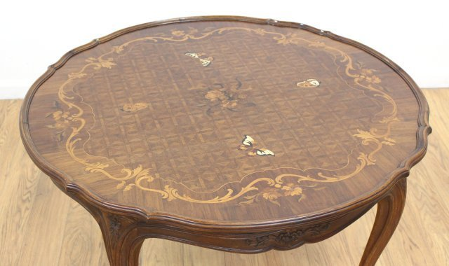 Round Scalloped Edge Inlaid Coffee Table - 4