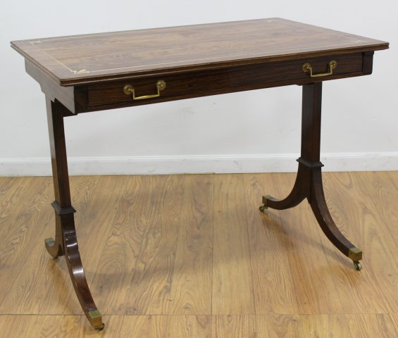 Regency Style Brass Inlaid Rosewood Writing Table