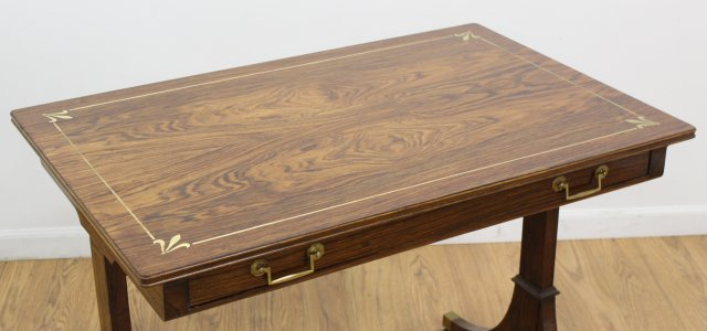 Regency Style Brass Inlaid Rosewood Writing Table - 2