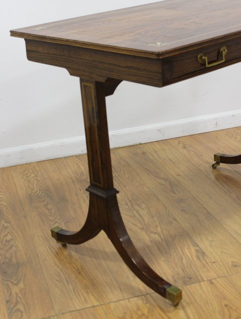 Regency Style Brass Inlaid Rosewood Writing Table - 3