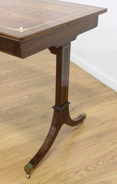 Regency Style Brass Inlaid Rosewood Writing Table - 4