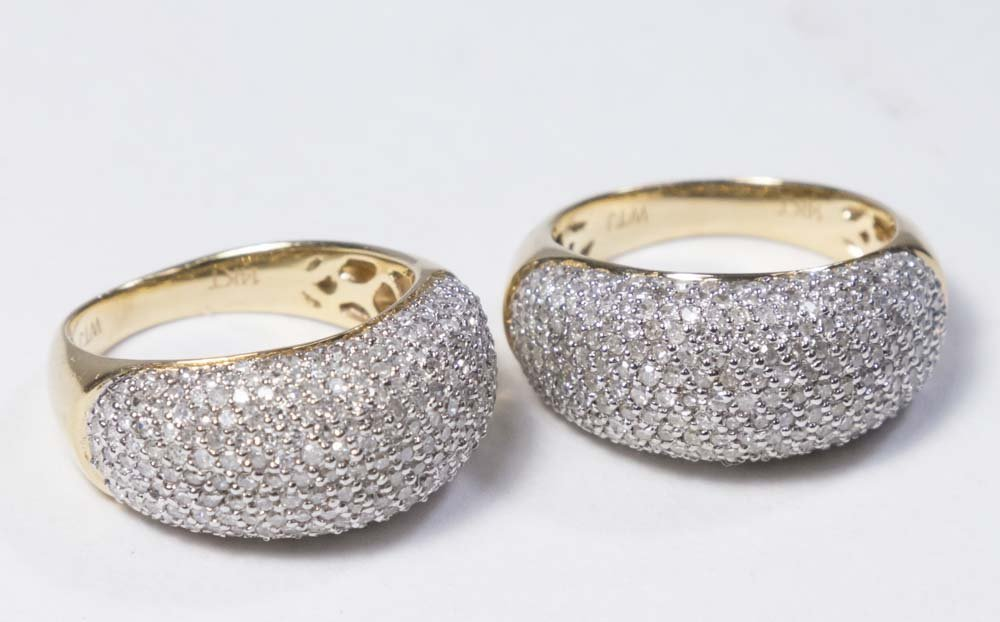 2-14K Gold & Pave Diamond Band Rings