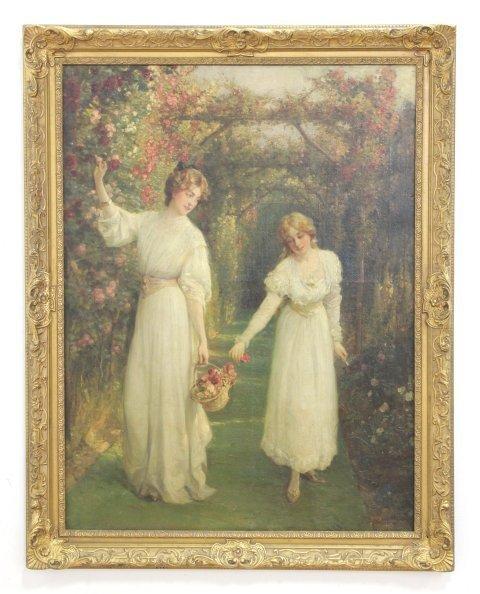 Talbot Hughes, Young Women Picking Flowers - 2