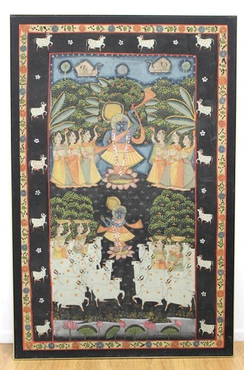 Large Indian Oil on Canvas, Religious Theme