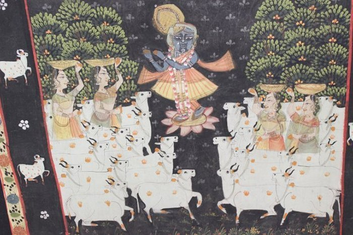 Large Indian Oil on Canvas, Religious Theme - 3