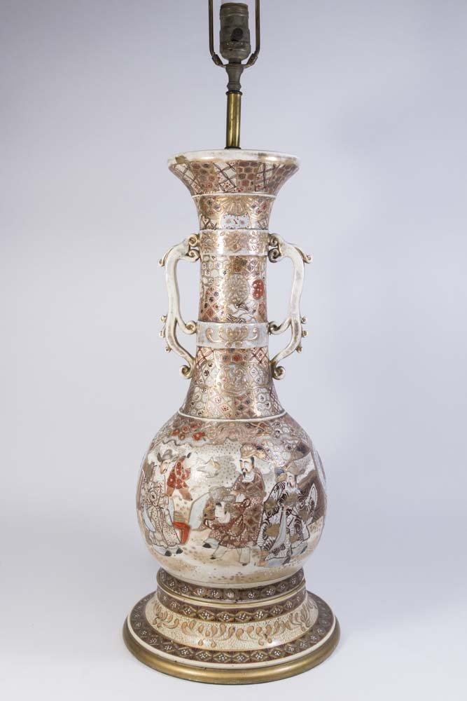 Satsuma Vase Mounted as Lamp