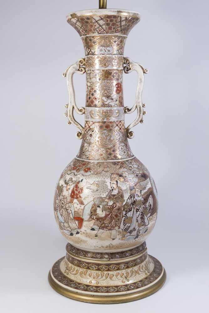 Satsuma Vase Mounted as Lamp - 2