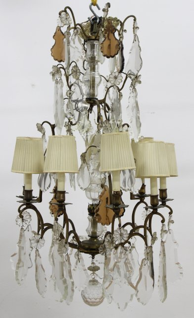 Rococo Style Gilt Metal & Crystal Chandelier