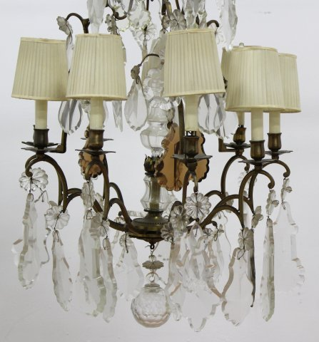 Rococo Style Gilt Metal & Crystal Chandelier - 2