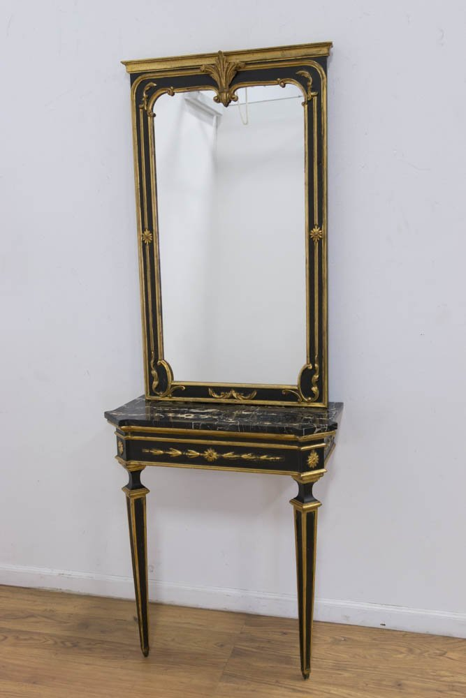 Italian Giltwood Marble Top Console & Mirror