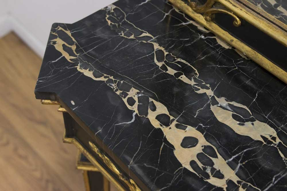 Italian Giltwood Marble Top Console & Mirror - 3