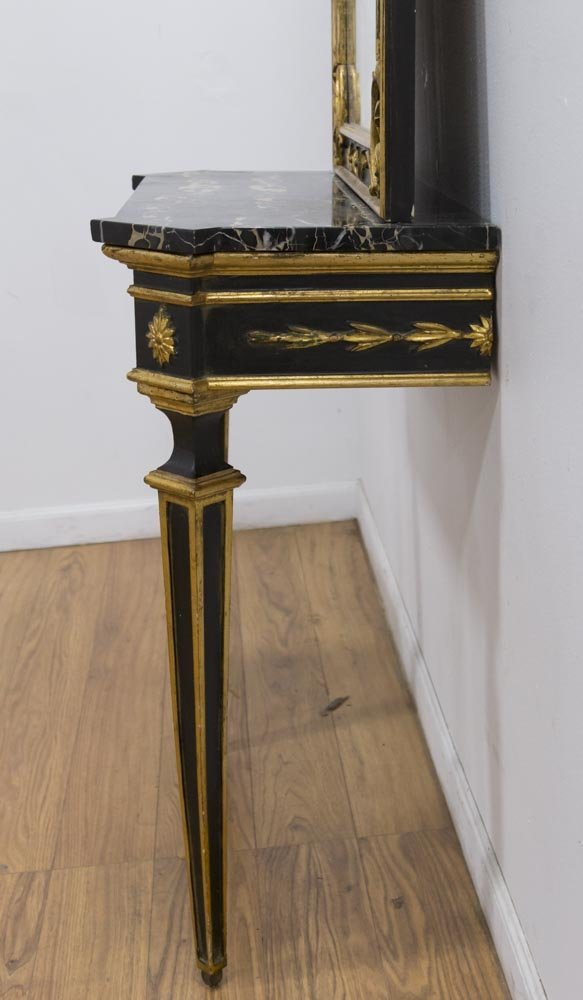Italian Giltwood Marble Top Console & Mirror - 6