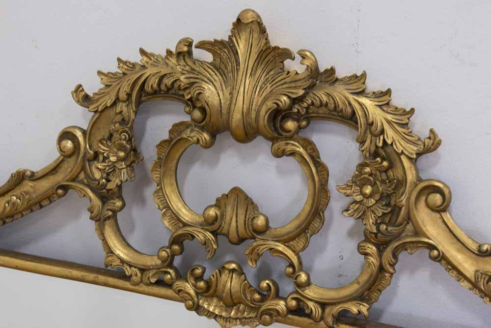Gilt Floral Mirror with Crest - 2