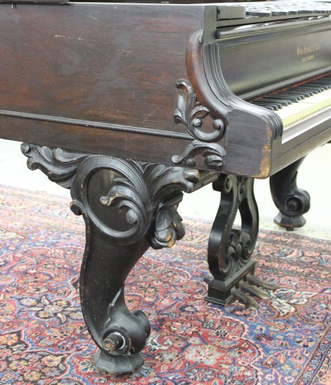 Scroll Leg Rosewood William Knabe Grand Piano - 4