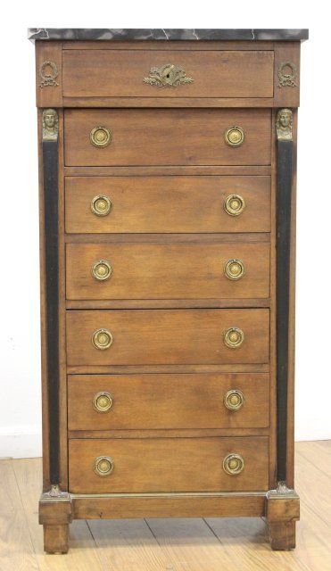 Empire Style Marble Top Linen Chest