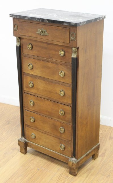Empire Style Marble Top Linen Chest - 2