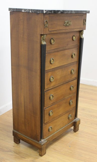 Empire Style Marble Top Linen Chest - 3