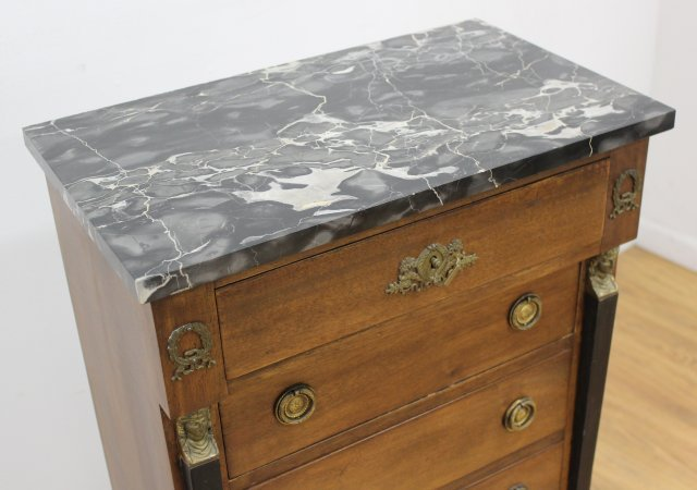 Empire Style Marble Top Linen Chest - 4