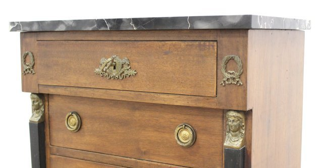 Empire Style Marble Top Linen Chest - 5