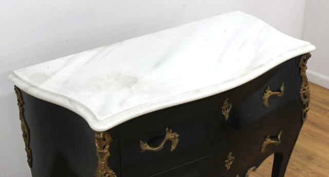 Louis XV Style Black Lacquer Commode - 4
