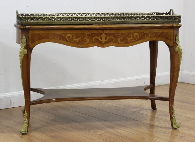 Louis XV Style Inlaid Marquetry Coffee Table - 2